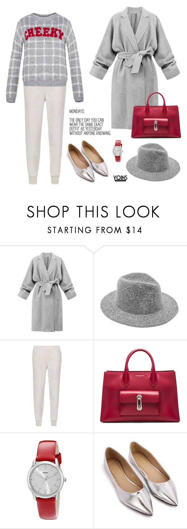 """""""Checked Top Yoins Contest"""" by theoni2009 ❤ liked on Polyvore featuring Vince, Balenciaga, Timex and yoins"""