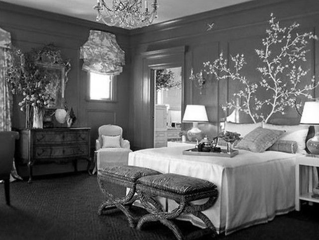 Bedroom Decoration ~ 27 Enthralling Grey Bedroom Ideas Contemporary Designs: Sophisticated White Queen Bed Feat Old Benches With Crystal Chandelier Also Vintage Vanities Dresser Feat Silver Mirrored In European Grey Bedroom Ideas