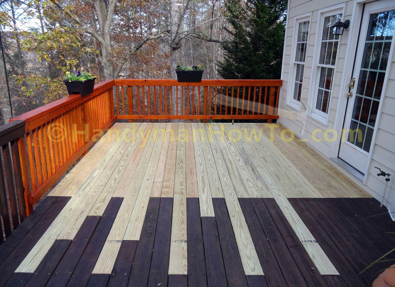 Sagging deck repair rebuilt deck rail and deck boards deck how to replace wood deck boards baanklon Images