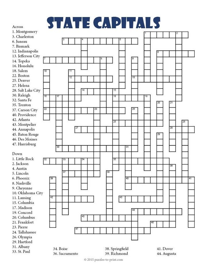 State Capitals Crossword | United States | Pinterest | Student ...