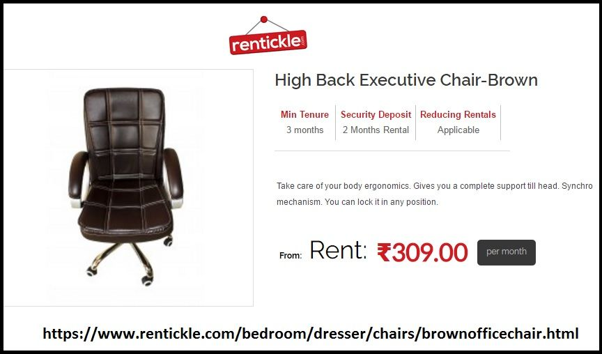 Office Chair On Rent High Top Table Folding Chairs Back Executive Brown Image Sharing To Own For Purchase At The Affordable Price In Delhi Gurgaon Noida And Hyderabad India Rentickle With