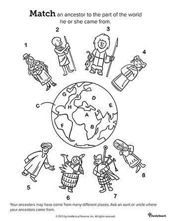 Un dibujo en blanco y negro del mundo rodeado por ocho personas en ...