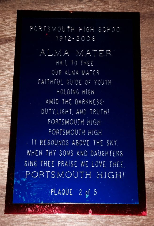 Portsmouth High School Alma Mater plaque on memorabilia board.