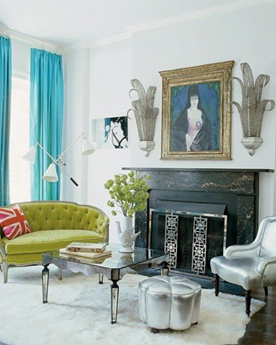 Vintage Living Room Ideas For Small Spaces: Small Space Inspiration: Nanette Lepore's Green & Blue