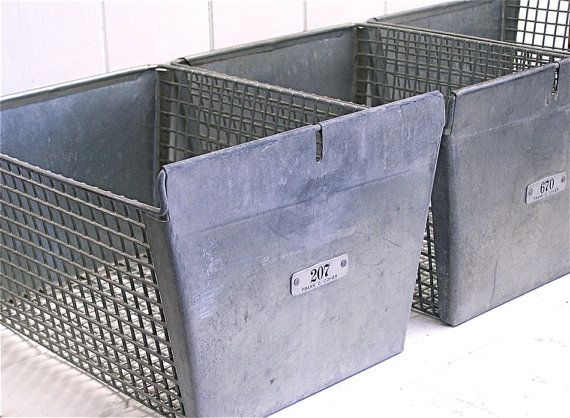 2 vintage metal locker baskets basket metal pinterest. Black Bedroom Furniture Sets. Home Design Ideas