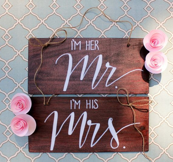 Cute Wedding Ideas For Reception: Reception Bride And Groom Chair Signs