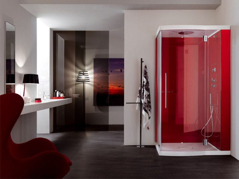 Bathroom Wrapped In Red Black And White Impressive Red Shower Cabin For Luxurious Bathroo Modern Bathroom Design Bathroom Design Trends Black Bathroom Decor