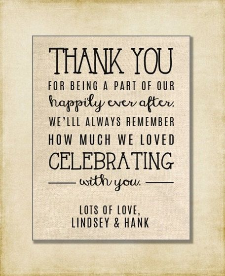 Wedding Gift Card Quotes: Wedding Thank You Note Welcome Bag Wedding By