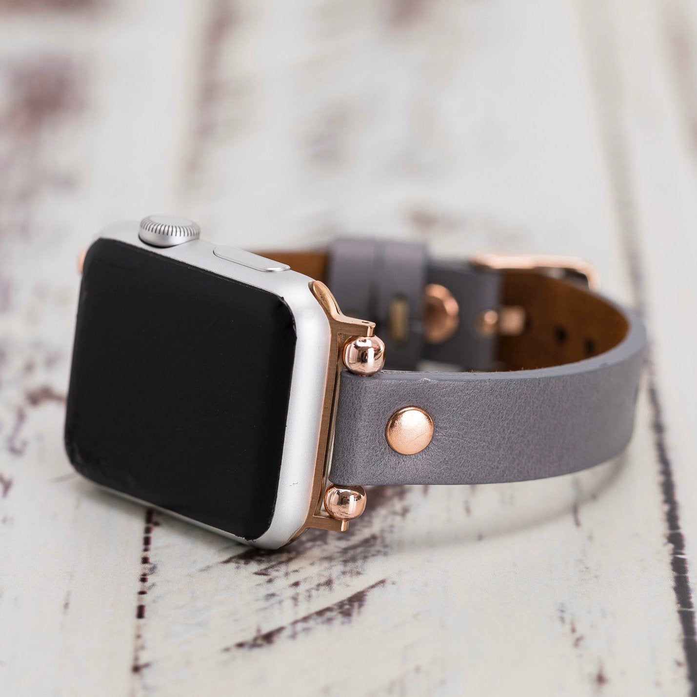Gray Leather Apple Watch Band 38mm 40mm 42mm 44mm Slim Etsy Apple Watches For Women Apple Watch Bands Leather Apple Watch Bands Women