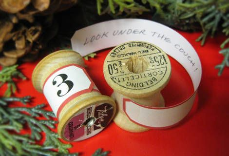 Christmas Advent calendars from vintage wooden spools.
