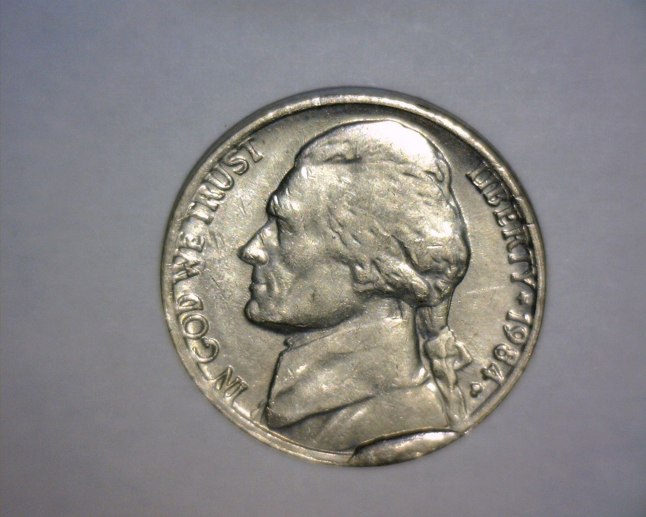 error #errorcoins 1984 P JEFFERSON NICKEL, MAJOR DIE BREAK, OBVERSE