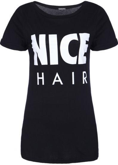 Black Short Sleeve NICE HAIR Print T-Shirt pictures