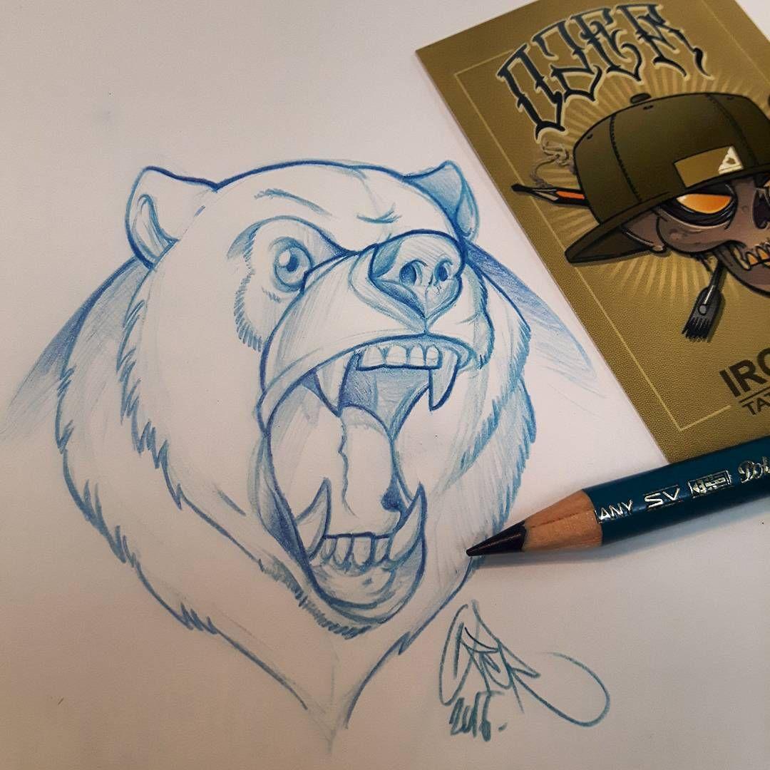 Angry bear tattoo sketch for tomorrow ozer ozertattoo ozergraffiti