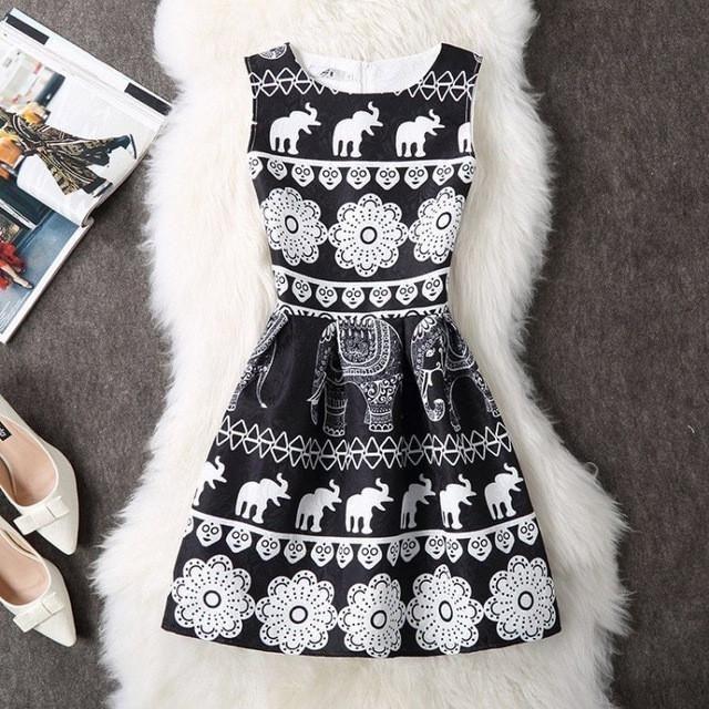 Sleeveless Cotton Printed Pleated Women Mini Dress #elephantitems