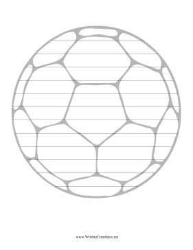 this printable writing template features a picture of a soccer ball
