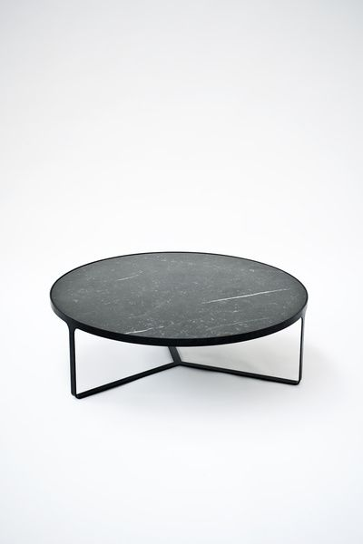 Black Coffee Table With Top In Maruina Black Marble Cage By