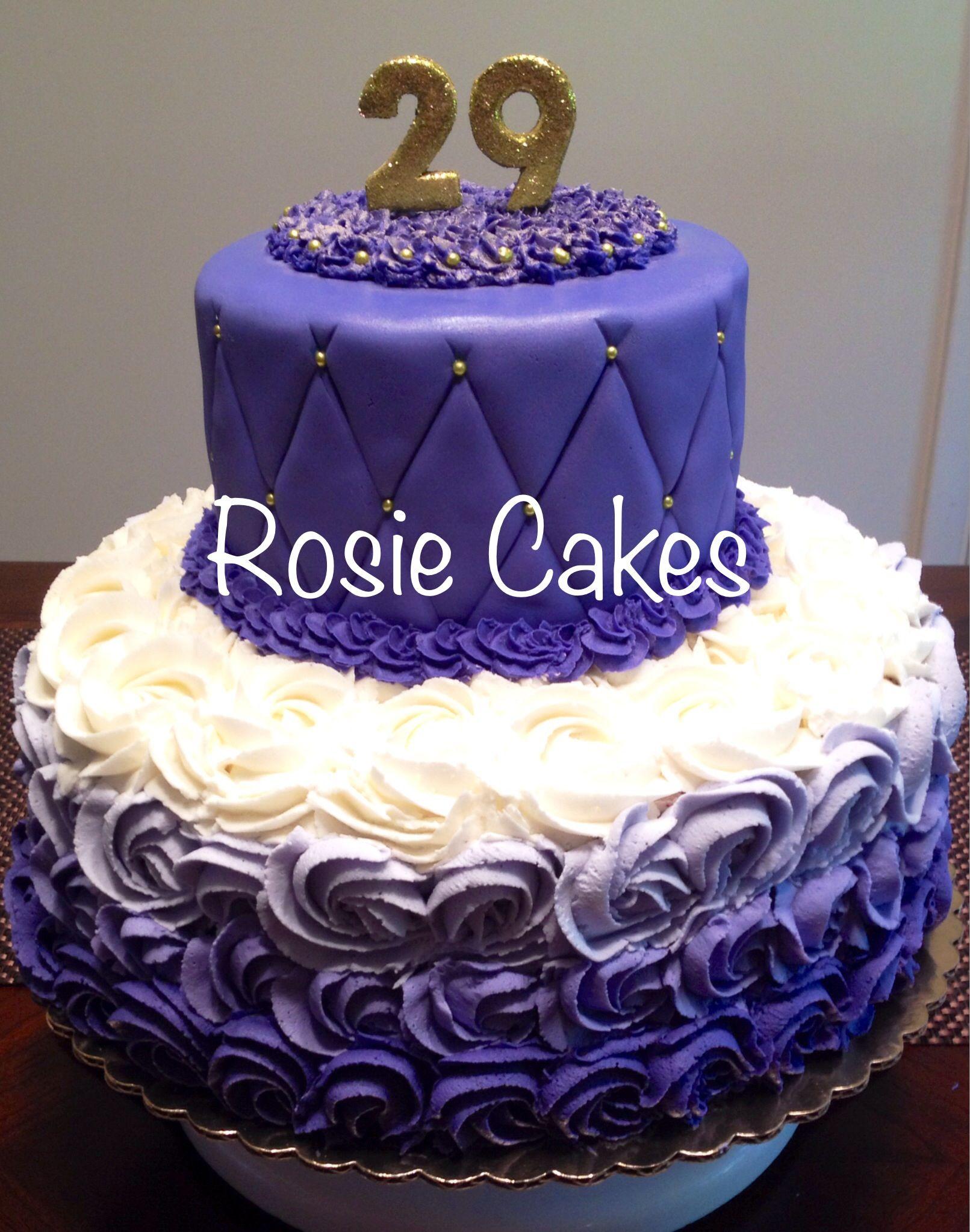 #ombre #roses #purple #gold #birthday #cake #fondant #29 # ...