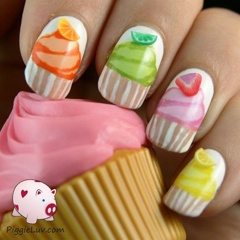 Cupcake nails by PiggieLuv from Nail Art Gallery