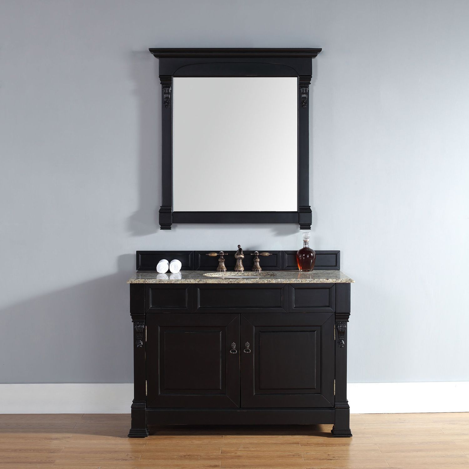 48 Inch Brookfield Antique Black Single Cabinet Vanity By James Martin  Furniture