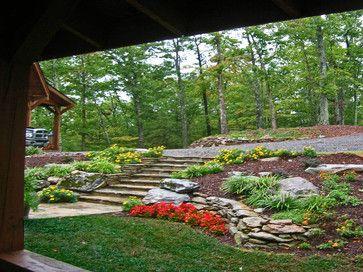 Landscape sloping front yard design pictures remodel for Mountain landscape design