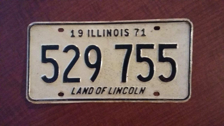 Vintage 1971 Illinois License Plate, 1971 license plate, vintage ...