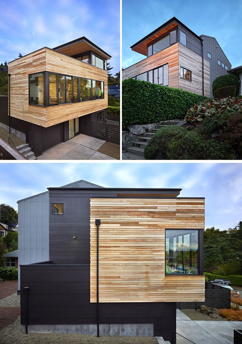 The exterior of this modern home features clear unfinished western red cedar thats been combined with painted hardiepanel siding the natural finish of