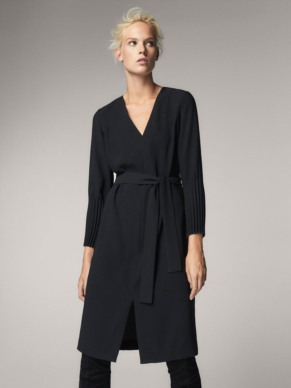 5beec7abf1e BLACK DRESS WITH PLEATED CUFFS - Women - Massimo Dutti | Fall 2017 ...