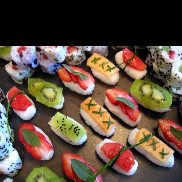Fruit topped sushi rice | Sushi recipes easy, Fruit sushi ...