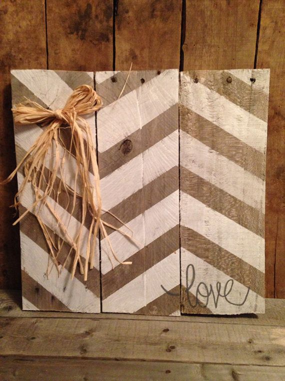 Chevron Love Sign Natrual Pallet Wood Love by SamiJakesBoutique