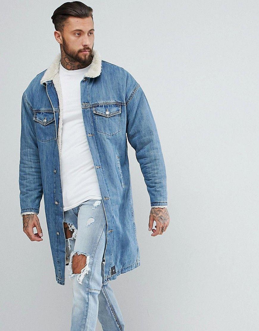 Sixth June Longline Denim Jacket With Fleece Lining Blue Longline Denim Jacket Denim Jacket Jackets [ 1110 x 870 Pixel ]