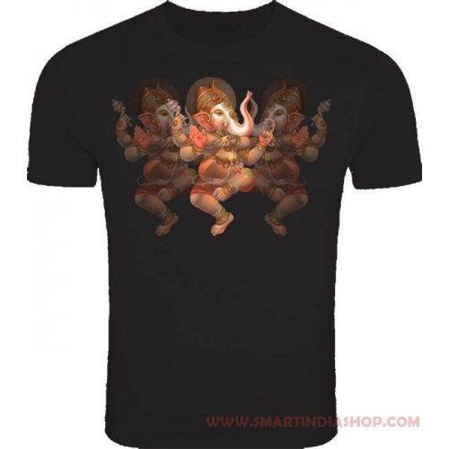 72c482fef78a Dancing God Ganesha Design Cotton Black colour t shirts Online for Men and  Kids, buy