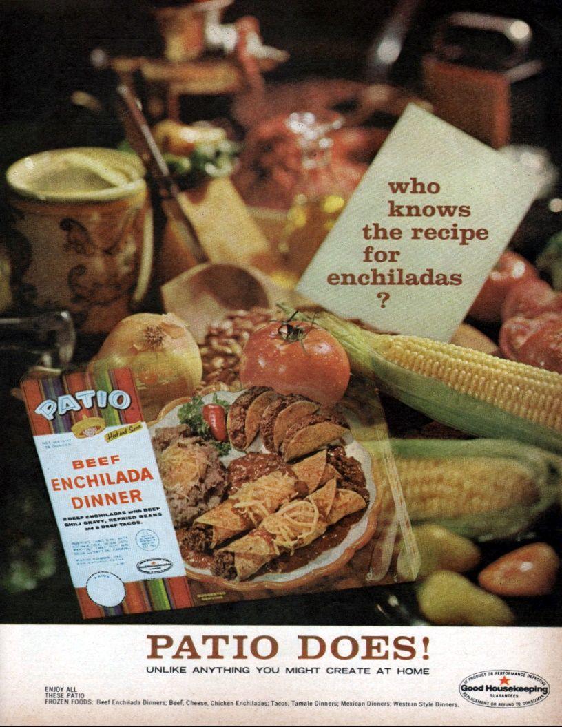 Patio   1963. Vintage FoodPatioPostsFrozenDinners