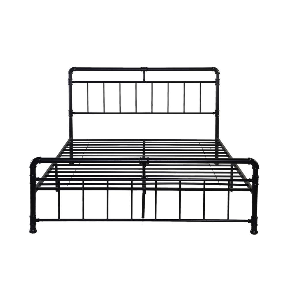 Noble House Mowry Industrial Queen Size Flat Black Iron Bed Frame