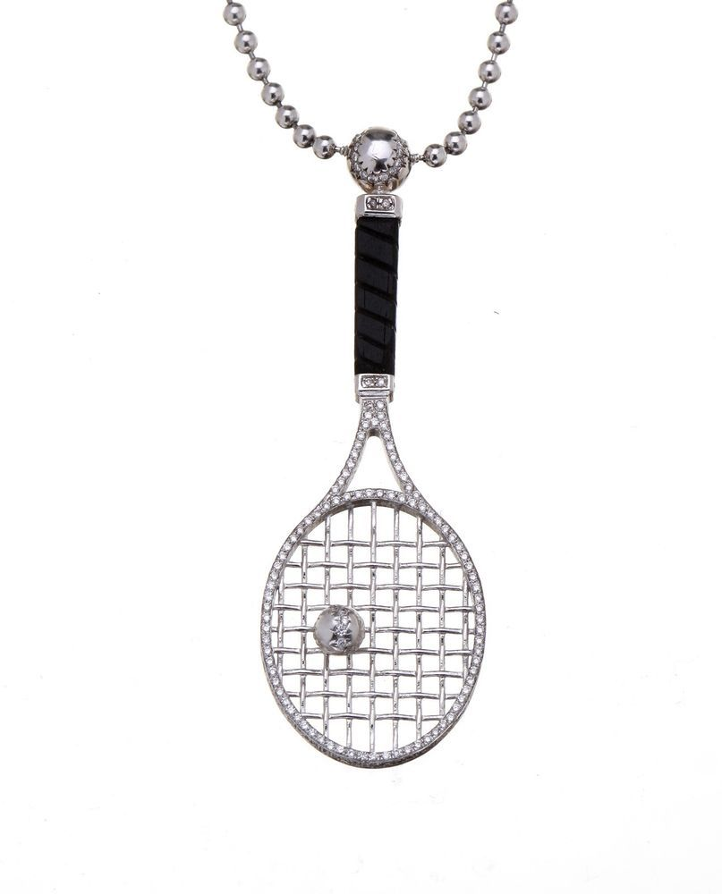 248ct diamond tennis racket pendant and 18k white gold sport 248ct diamond tennis racket pendant and 18k white gold sport designer necklace starsbybaz mozeypictures Gallery