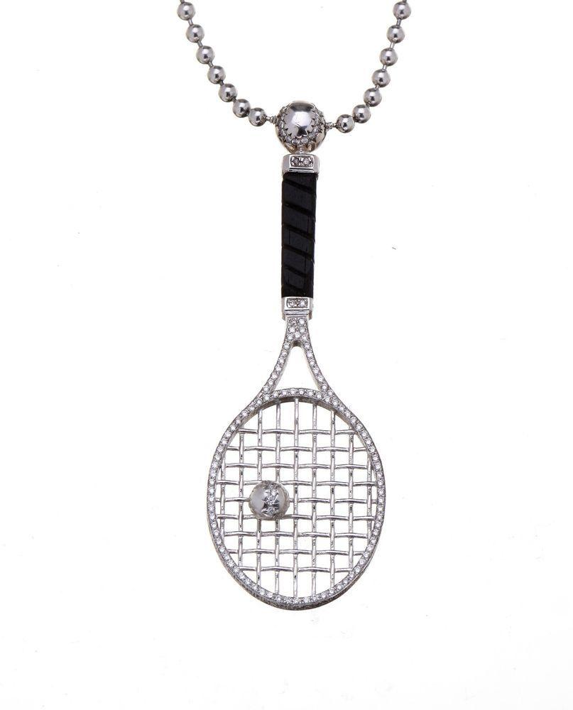 248ct diamond tennis racket pendant and 18k white gold sport 248ct diamond tennis racket pendant and 18k white gold sport designer necklace starsbybaz mozeypictures Choice Image