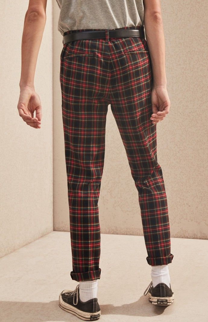 Pacsun Skinny Trouser Red Plaid Pants 28 Red Plaid
