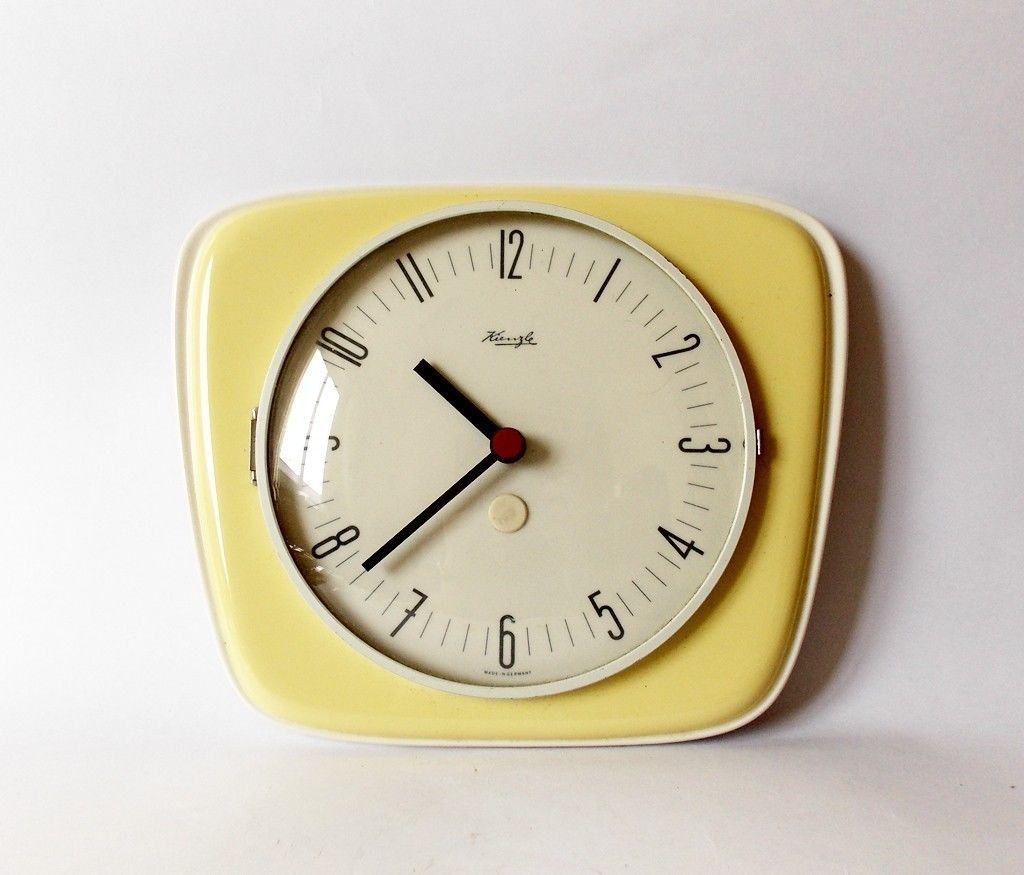 Vintage Art Deco Style 1960s Ceramic Kitchen Wall Clock Kienzle