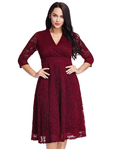 Lookbookstore Womens Plus Size Maroon Lace Bridal Formal Skater