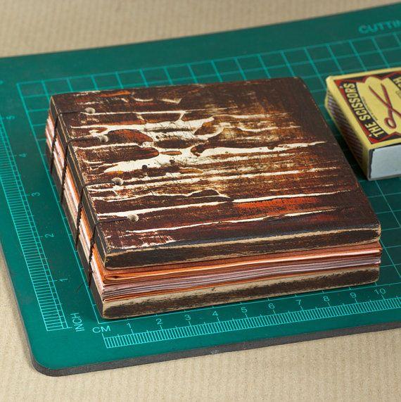 Mixed Media Book Art Wooden Book blank journal by InspiraeStudio