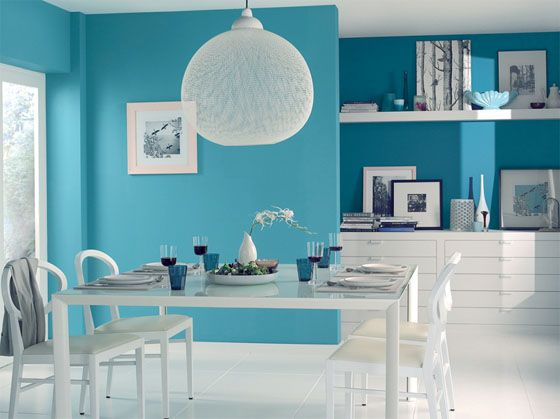 Un salon original en bleu turquoise | Salons and Room