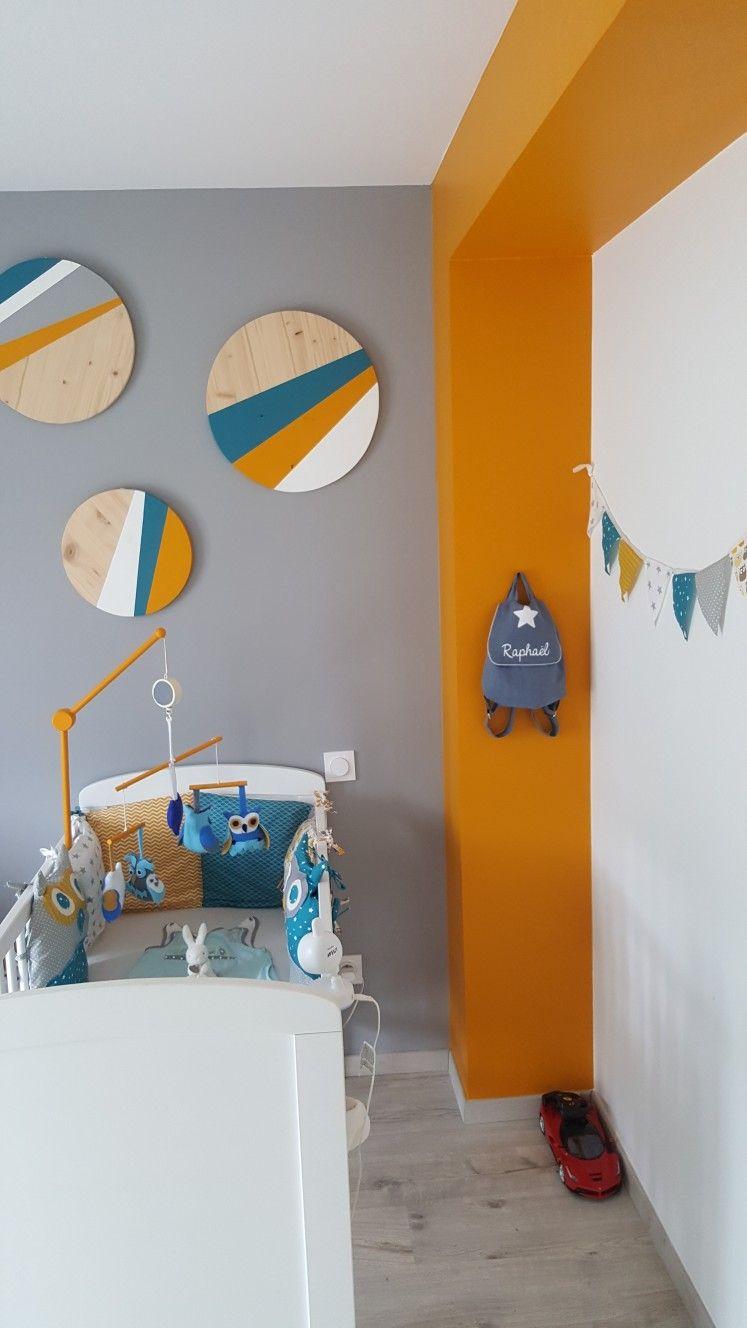 Chambre bébé garçon thème hibou jaune moutarde bleu canard ...
