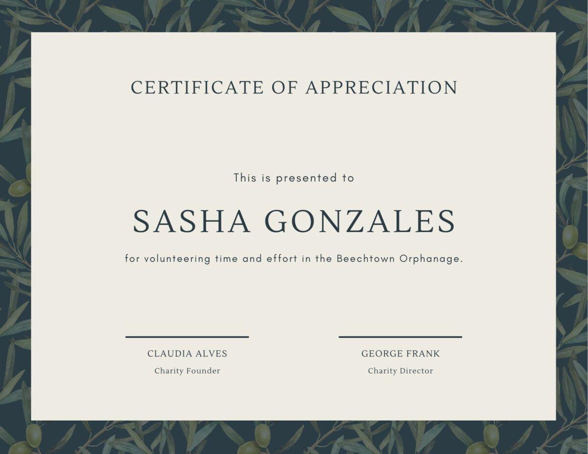 Green Olive Tree Leaves Volunteer Appreciation Certificate In Volunteer Certificate Template Volunteer Appreciation Certificate Templates Appreciation