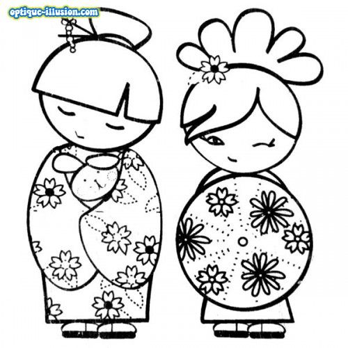 Coloriage Kokeshi.Coloriage Kokeshi A Imprimer Coloriages Dessins Divers