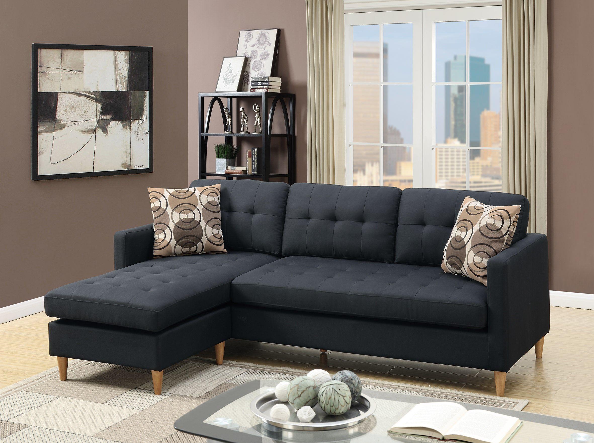 Poundex Bobkona F7084 Black Tufted Retro Sectional Sofa Chaise