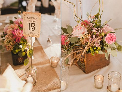 Wooden crate centerpieces