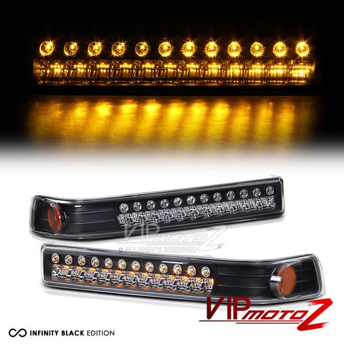 1998-2003 Chevy Blazer Front Black LED Bumper Light Set [BRAND NEW] #VIPMOTOZ