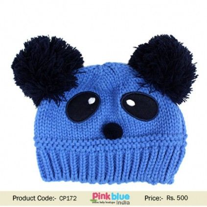 eddb79d62874c Fashionable Blue Knitted Winter Cap for Children s in India ...
