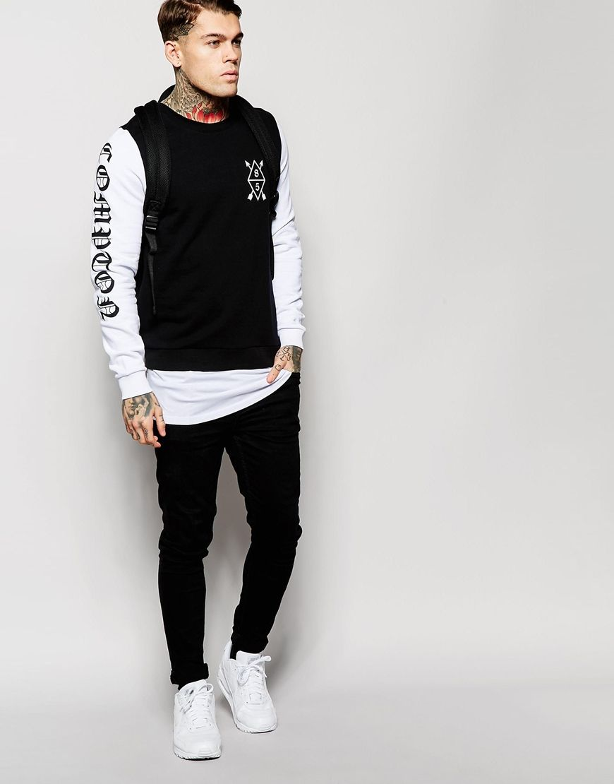ASOS - Superlanges Sweatshirt mit bedrucktem, verlängerten Saum - 41,99 €