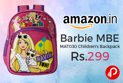 Amazon #LightningDeal is offering 50% off on Barbie MBE – MAT030 Children's Backpack at Rs.299 Only.  http://www.paisebachaoindia.com/barbie-mbe-mat030-childrens-backpack-at-rs-299-only-amazon/