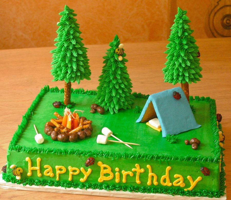Camping Cake Camping Cake This one was really fun to make! Chocolate cake with vanilla/almond buttercream. Fondant and graham cracker tent. Fondant...
